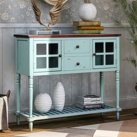 Merax Farmhouse Console Table with Glass Buffet Storage Cabinet and Bottom Shelf