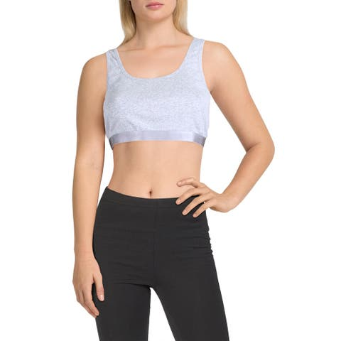 Splendid Womens Sports Bra Running Fitness - Heather Light Grey - L