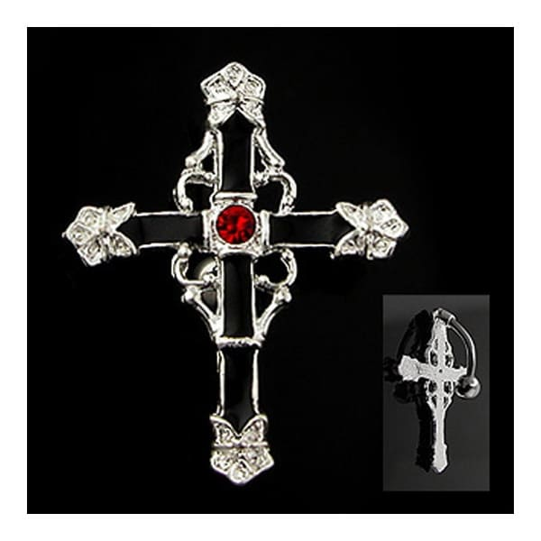 "Rodium Plated Top Drop Navel Belly Button Ring with Black Enamel Cross with Red Gem Center - 14GA 3/8"" Long"