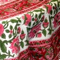 Handmade Lotus Flower Block Print 100% Cotton Tablecloth Red 60x60 Square 60x90 REctangle 72 Inch Round - 60 x 90 inches - Thumbnail 2