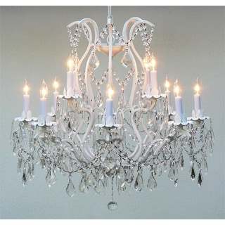 Versailles Wrought Iron and Crystal White Chandelier