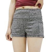 Ladies Gray Size M Dual Pockets Quick Dry Skinny Running Gym Sport Shorts Pants