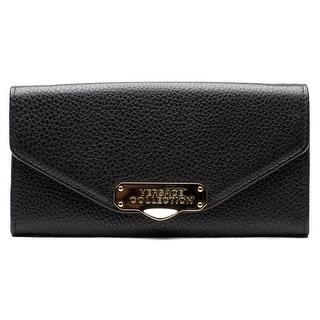 Versace Oro Chiaro Chain Crossbody Leather Handbag - Black - S
