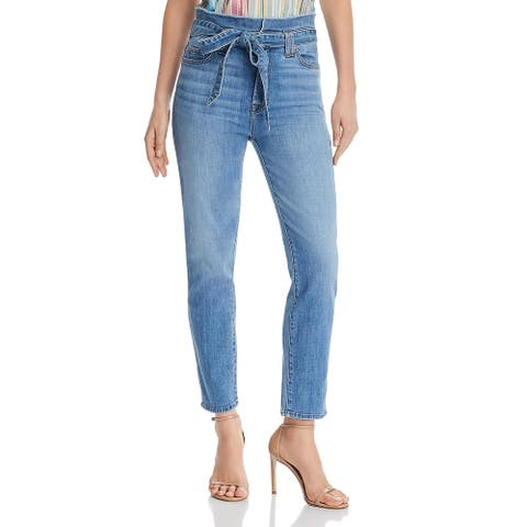 7 For All Mankind Womens Roxanne Skinny Jeans Paperbag High Waist Ankle - Bright Blue Jay