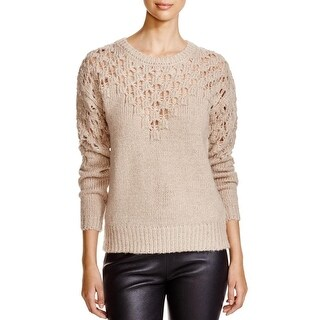 One A Womens Tunic Sweater Ribbed Knit Open Weave