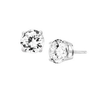 8 mm White Cubic Zirconia Stud Earrings in Sterling Silver