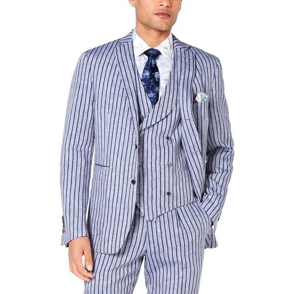 Tallia Mens Sportcoat Linen Stripe - Navy/White - 50L