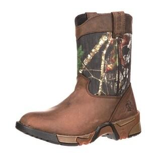 "Rocky Outdoor Boots Boys 6"" Wellington Mossy Oak Camo"