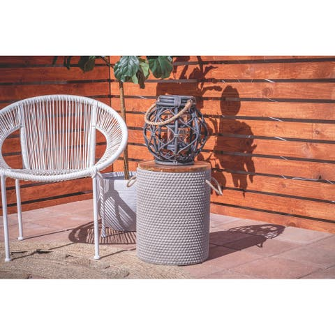 Cement Modern Outdoor Accent Table 18 x 14 x 14