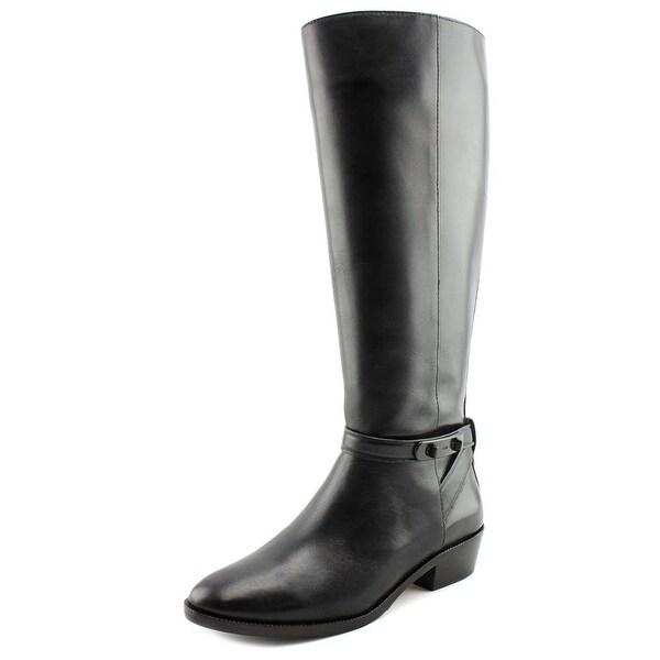 Coach Caroline Wide Calf Women Round Toe Leather Black Knee High Boot