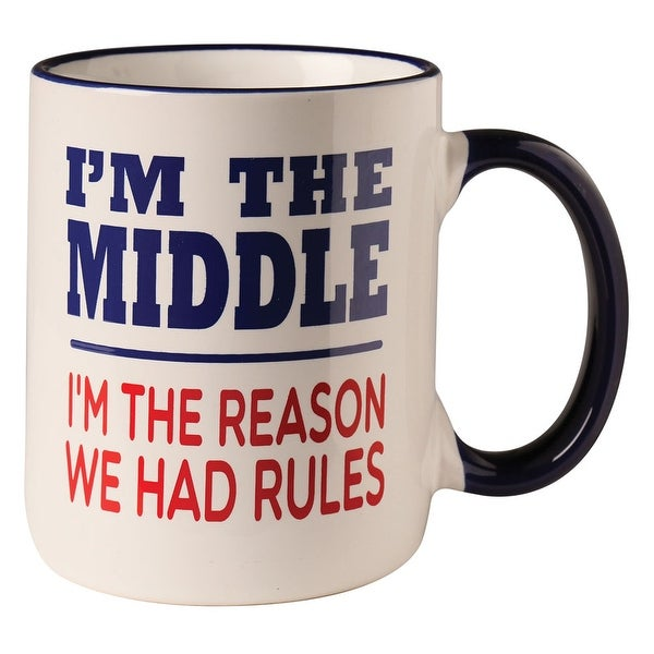 Middle Child Coffee Mug - I'm the Reason We Had Rules Sibling Cup - 12 oz Ceramic