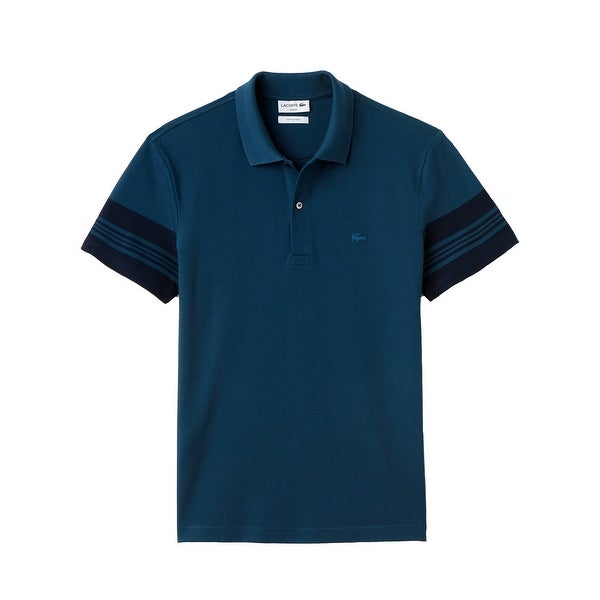 ffe8f0265c2157 Shop Lacoste Mens Slim Fit Striped Sleeves Polo in Legion Blue - Free  Shipping Today - Overstock - 15952641