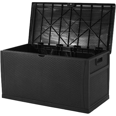 SUNCROWN 120 Gallon Deck Box Outdoor Resin Wicker Storage Container
