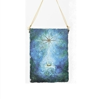 """Link to 5"""" Blue and Gold Glitter Baby Jesus Religious Decorative Christmas Plaque Ornament - N/A Similar Items in Christmas Decorations"""