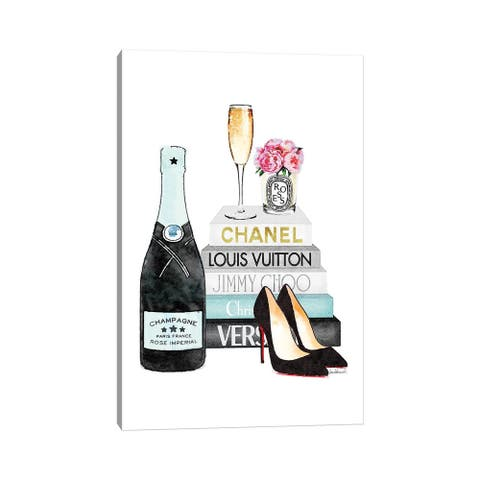 """iCanvas """"Teal Books And Teal Champagne"""" by Amanda Greenwood Canvas Print"""