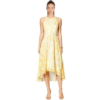 Teri Jon Floral Print Embellished Waist Hi-Lo Cocktail Dress - 12