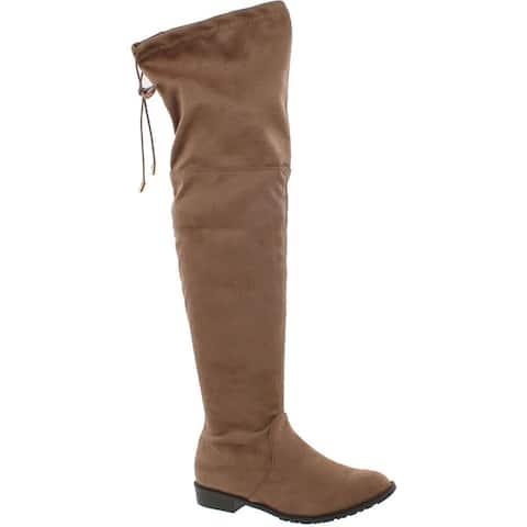 Yoki Anora Women's Drawstring Side Zipper Low Heel Thigh High Boots