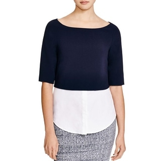 Theory Womens Burgess Blouse Pique Mixed Media