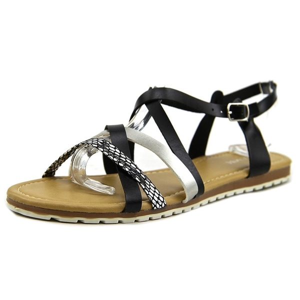 ShoeVibe Donna Women Open Toe Synthetic Black Sandals