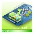 "Two Circular Barbell and 10 pairs of UV Green Balls - 14GA 7/16"" Long (5mm Ball) - Thumbnail 0"