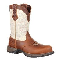 "Durango Boot Women's DRD0194 Lady Rebel 10"" Saddle Western Boot Dark Brown/Cream Full Grain Leather/Synthetic"