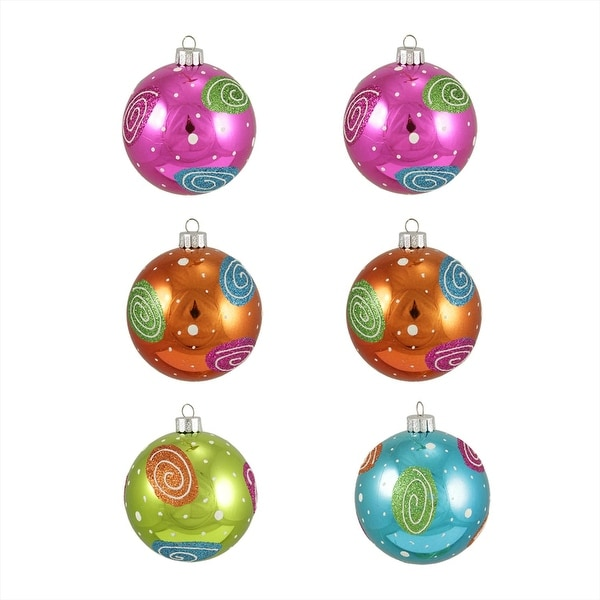 "6ct Colorful Swirl Glitter Shatterproof Christmas Ball Ornaments 3.25"" (80mm)"
