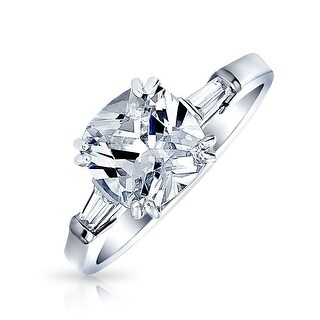 Bling Jewelry Sterling Silver Asscher Cut 4.5ct CZ 3 Stone Engagement Ring