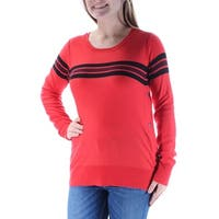 Womens Red Striped Long Sleeve Jewel Neck Casual Top  Size  M