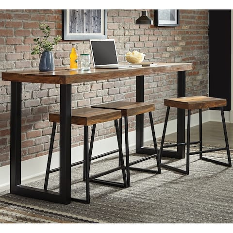 Rustic Plank Design Counter Height 4-Piece Dining Set