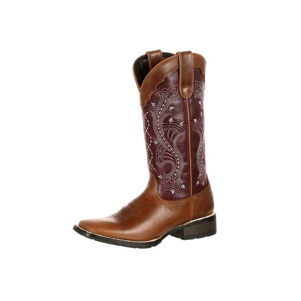 Durango Western Boots Womens Mustang Pull On Square Brown