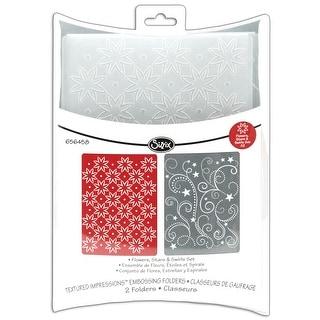 Sizzix Textured Impressions A2 Embossing Folders 2/Pkg-Flowers/Stars & Swirls - Red