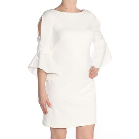RALPH LAUREN Womens Ivory Embroidered Bell Cuff 3/4 Sleeve Boat Neck Above The Knee Sheath Cocktail Dress Petites Size: 4