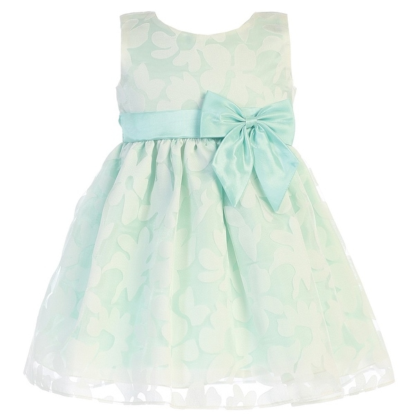 58f7cd5712aa Shop Baby Girls Mint Burnout Floral Organza Easter Dress - Free ...