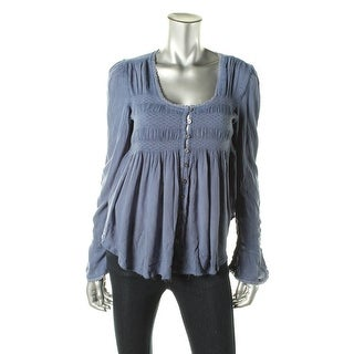 Free People Womens Pullover Top Scoop Neck Smocked