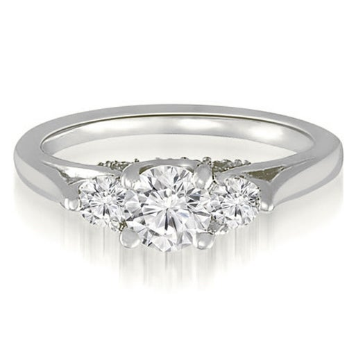 1.25 cttw. 14K White Gold Round Cut Three-Stone Diamond Engagement Ring