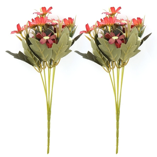 Home Fabric Artificial Chrysanthemum Flower Photo Prop Handheld Bouquet Red 2pcs