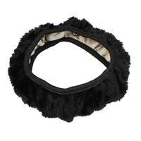Unique Bargains Protectiving Black Plush Adjustable Elastic Car Steering Wheel Cover