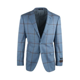 Sangria Blue and Black Houndstooth with Brown Windowpane Pure Wool Jacket by Tiglio Luxe