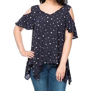 Women Plus Size Polka Dot Cold Shoulder Tunic Knit Top Tee Shirt Navy