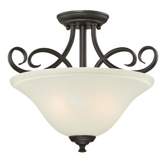 """Westinghouse 6306500 Dunmore 2 Light 15"""" Wide Single Semi-Flush Ceiling Fixture with Frosted Glass Shade"""