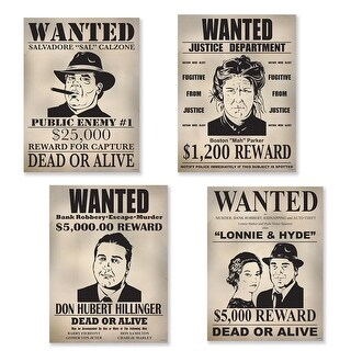 """Club Pack of 12 Gangster Wanted Sign Cutouts Wall and Door Decorations 15.25"""""""
