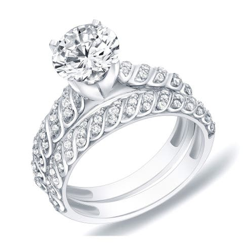 Auriya 14k Gold Unique Round Diamond Engagement Ring Set 1 1/4ctw