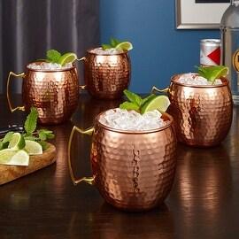 Everston Hammered Copper Mug, Set of 4