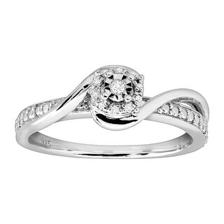 Swirled Anniversary Ring with Diamonds in Rhodium-Plated Sterling Silver