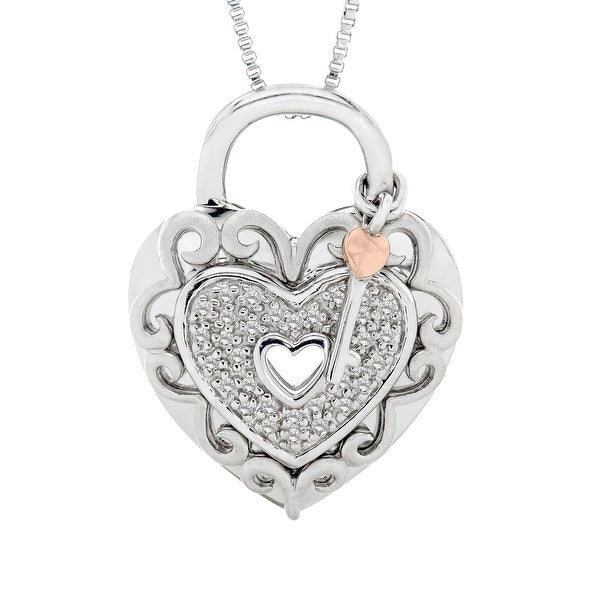 Diamond Heart Lock Pendant in Sterling Silver & 14K Rose Gold
