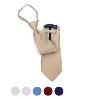 Men's Silk Solid Color X-Long Pre-tied Zipper Neck Tie - One size