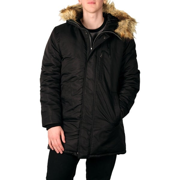 Sean John Men's Hooded Parka with Faux Fur Trim - Free Shipping ...