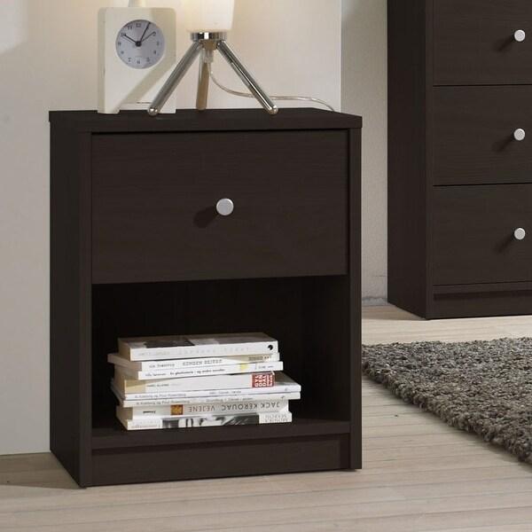 Modern 1-Drawer Bedroom Nightstand in Dark Brown Wood Finish