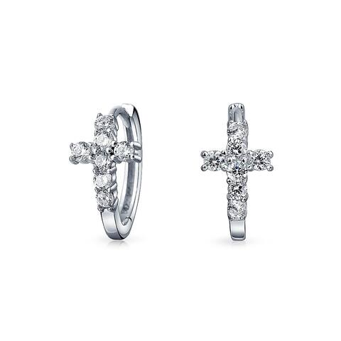 Cross Kpop Hoop Earrings Cubic Zirconia 925 Sterling Silver