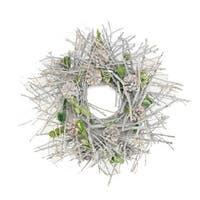 "20"" Glittered Twig, Pine Cone and Leaf Artificial Christmas Wreath - Unlit - WHITE"
